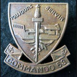 COMMANDO 63 : Insigne de béret du Commando 63 matriculé N° 037