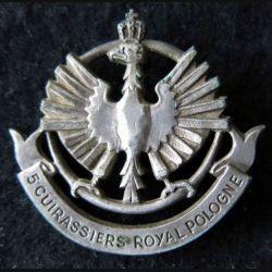 5° RC : Insigne de béret 46 mm du 5° régiment de cuirassiers en métal ABP EO