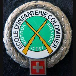 SUISSE : insigne de béret de l'école d'infanterie Colombier Suisse