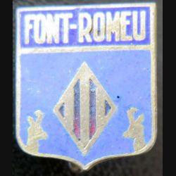 BLASON FONT-ROMEU : boutonnière en émail de la ville de Font-Romeu 14 x 18 mm épingle