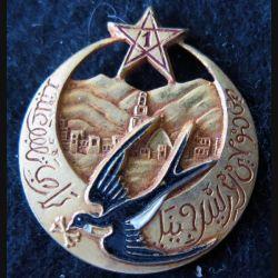 1° RTM : insigne métallique du 1° régiment de tirailleurs marocains type 4  Drago Béranger peint