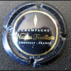 Capsule Muselet de bouteille de champagne Nicolas Feuillatte contour noir centre noir (L2)