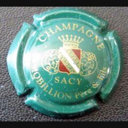 Capsule Muselet de bouteille de champagne Mobillon Père et fils vert foncé écu bordeaux  (L3)