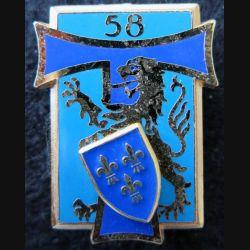 58° RT : insigne du 58° régiment des transmissions de fabrication Delsart Sens G. 1914