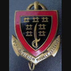 1° DINASSAU : insigne de la 1° division navale d'assaut Drago olivier Métra M. 501 émail