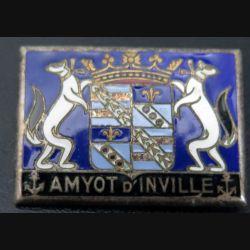 AMYOT D'INVILLE : insigne de l'aviso dragueur Amyot d'Inville Drago Paris Nice en émail