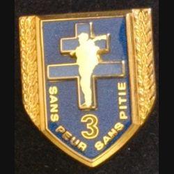 126° RI : insigne métallique de la 3° compagnie du 126° régiment d'infanterie SANS PEUR SANS PITIÉ 1907 - 2007 de fabrication Boussemart Prestige translucide