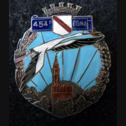 454° COMA : insigne de la 454° section des commis ouvriers militaires d'administration fabrication Isler émail