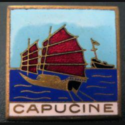 CAPUCINE : insigne du Dragueur 322 Capucine fabrication Augis en émail