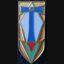 54° RT : insigne du 54° régiment de transmissions de fabrication Drago Paris G. 2168 T de couleur bleu moyen