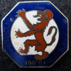 100° RI : insigne métallique du 100° régiment d'infanterie de fabrication non spécifiée G. 2625 en émail