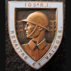109° RI : 109° régiment d'infanterie Arthus Bertrand Paris en émail
