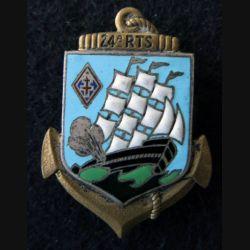 24° RTS : Insigne métallique du 24°Régiment de Tirailleurs Sénégalais Drago Olivier Métra déposé H. 667 en émail