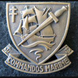 COMMANDO : insigne de béret des commandos Marine ABP type Chauvet 1943 dos vaguelé
