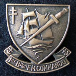 1° BFMC : insigne de béret 1° bataillon fusiliers marins commandos retirage