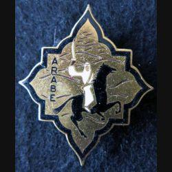 ARABE : insigne métallique de l'Escorteur Arabe dos grenu et doré fabrication Augis Lyon en émail