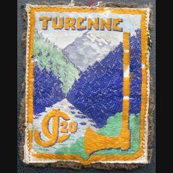 CJF 20 : insigne des chantiers de Jeunesse n° 20 Turenne sur feutrine verte