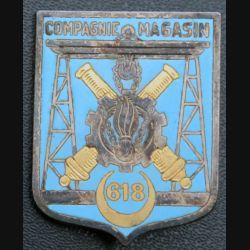 618° CM :  Insigne métallique de la 618° compagnie de magasin Drago Paris G. 1727 en émail