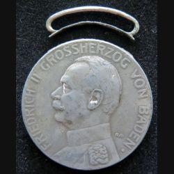 ALLEMAGNE : médaille d'argent de friedrich II Grossherzog von Baden fur Verdienst bélière dessoudée sans ruban