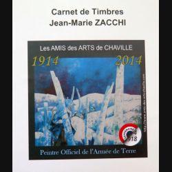 FRANCE : carnet de 4 timbres de Jean-Marie Zacchi Peintre officiel armée de terre centenaire 1914 2014