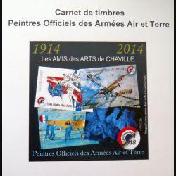 FRANCE : carnet de 4 timbres des peintres officiels des Armées Air et Terre centenaire 1914 2014
