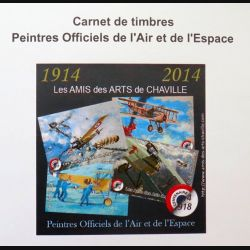 FRANCE : carnet de 4 timbres des peintres officiels de l'Air et de l'Espace centenaire 1914 2014