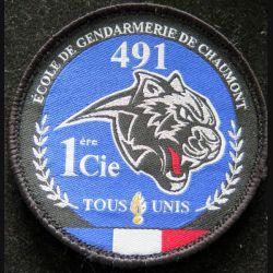 Insigne patch écusson tissu de la 1° compagnie promo 491 gendarmerie de Chaumont