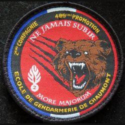 Insigne patch écusson tissu de la 2° compagnie 489° promo gendarmerie de Chaumont