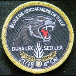 Insigne patch écusson tissu de la 6° compagnie 21/18 promo gendarmerie de Tulle