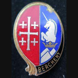 1° RHP : insigne métallique du 1° régiment de hussards parachutistes de fabrication Courtois en émail