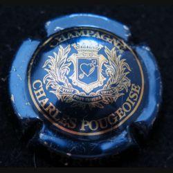 Capsule Muselet de bouteille de champagne Charles Pougeoise bleu métallisé et or (L4)