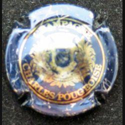 Capsule Muselet de bouteille de champagne Charles Pougeoise bleu métallisé et or état moyen (L4)