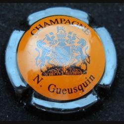 Capsule Muselet de bouteille de champagne N. Gueusquin orange et noir (L4)
