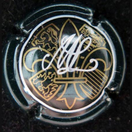 Capsule Muselet de bouteille de champagne Macquart-Lorette vert foncé ou noir blanc et or (L4)