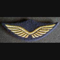 AIR : Insigne tissu de casquette de cadre de l'armée de l'air en cannetille avec poussoirs