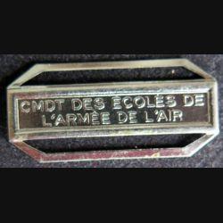 """Barrette """" CMDT DES ÉCOLES DE L'ARMÉE DE L'AIR """" en métal argenté"""